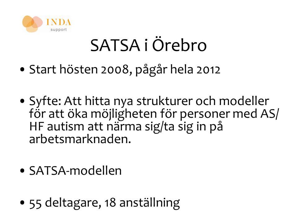 SATSA i Örebro Start hösten 2008, pågår hela 2012 Syfte: Att hitta nya strukturer och modeller för att öka möjligheten för personer med AS/ HF autism