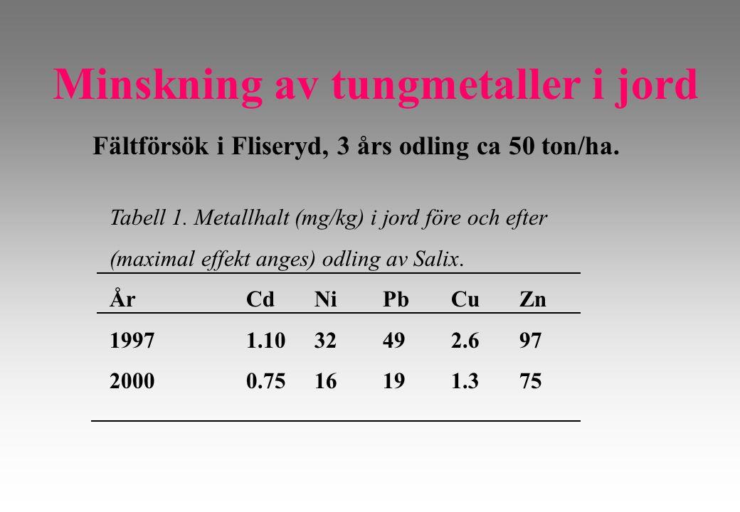 Tabell 1. Metallhalt (mg/kg) i jord före och efter (maximal effekt anges) odling av Salix.