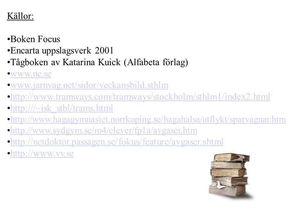 Källor: Boken Focus Encarta uppslagsverk 2001 Tågboken av Katarina Kuick (Alfabeta förlag) www.ne.se www.jarnvag.net/sidor/veckansbild.sthlm http://ww