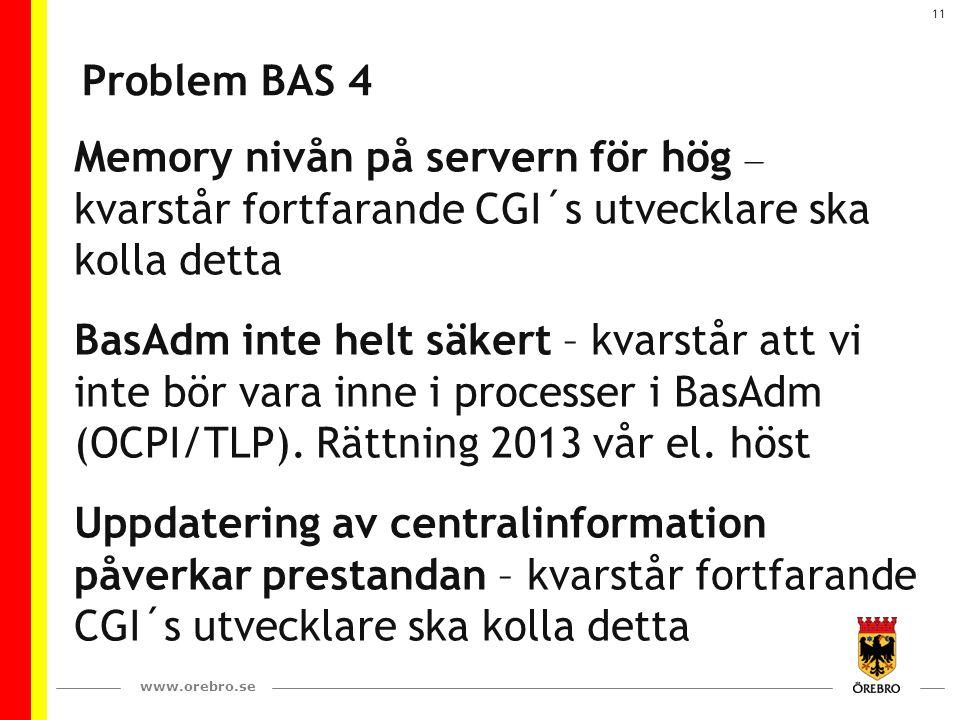 www.orebro.se 11 Problem BAS 4 Memory nivån på servern för hög – kvarstår fortfarande CGI´s utvecklare ska kolla detta BasAdm inte helt säkert – kvarstår att vi inte bör vara inne i processer i BasAdm (OCPI/TLP).