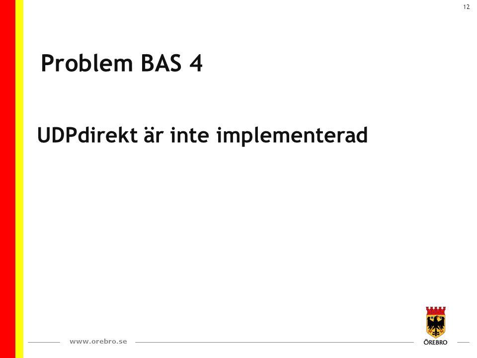 www.orebro.se 12 Problem BAS 4 UDPdirekt är inte implementerad