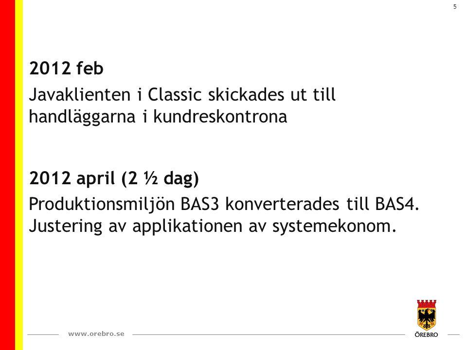www.orebro.se 5 2012 feb Javaklienten i Classic skickades ut till handläggarna i kundreskontrona 2012 april (2 ½ dag) Produktionsmiljön BAS3 konverterades till BAS4.
