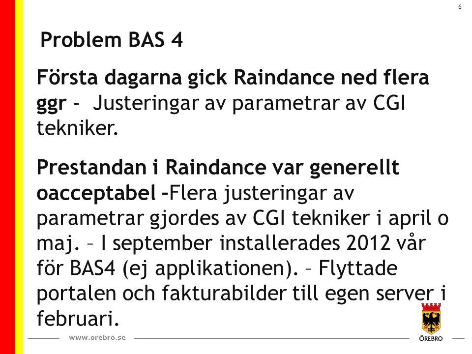 www.orebro.se 6 Problem BAS 4 Första dagarna gick Raindance ned flera ggr - Justeringar av parametrar av CGI tekniker. Prestandan i Raindance var gene