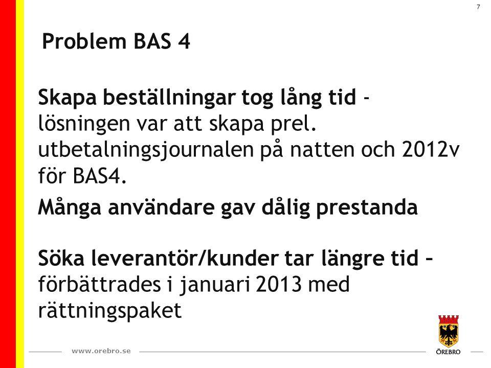 www.orebro.se 7 Problem BAS 4 Skapa beställningar tog lång tid - lösningen var att skapa prel. utbetalningsjournalen på natten och 2012v för BAS4. Mån