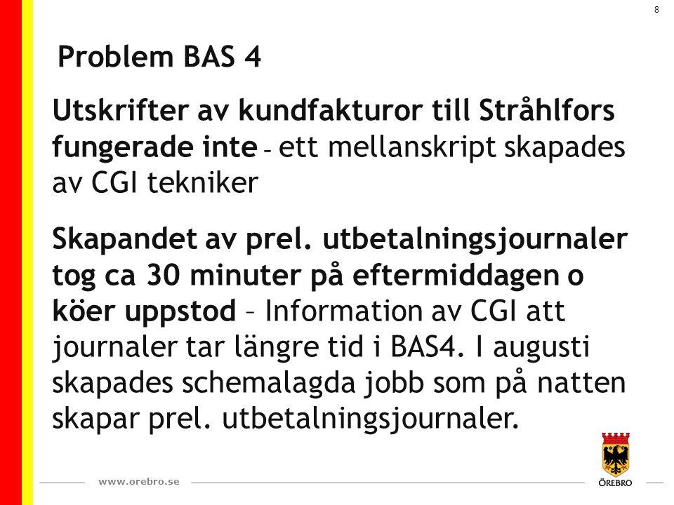 www.orebro.se 8 Problem BAS 4 Utskrifter av kundfakturor till Stråhlfors fungerade inte - ett mellanskript skapades av CGI tekniker Skapandet av prel.