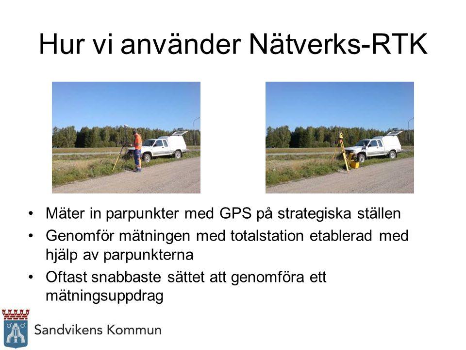 Hur vi använder Nätverks-RTK Mäter in parpunkter med GPS på strategiska ställen Genomför mätningen med totalstation etablerad med hjälp av parpunkterna Oftast snabbaste sättet att genomföra ett mätningsuppdrag