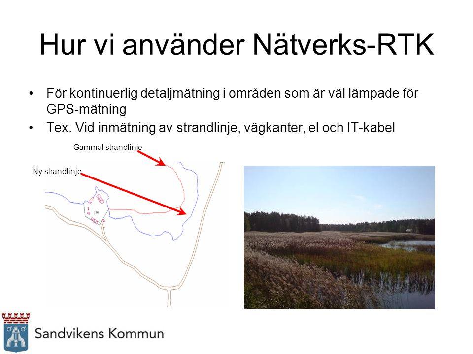 Hur vi använder Nätverks-RTK För kontinuerlig detaljmätning i områden som är väl lämpade för GPS-mätning Tex. Vid inmätning av strandlinje, vägkanter,
