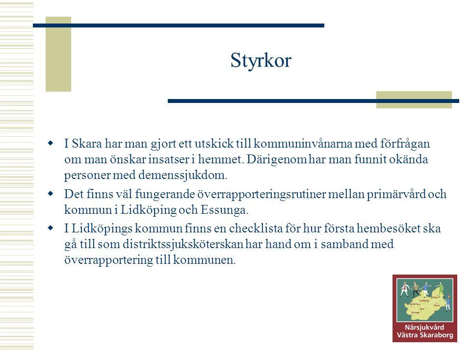 Styrkor  I Skara har man gjort ett utskick till kommuninvånarna med förfrågan om man önskar insatser i hemmet. Därigenom har man funnit okända person