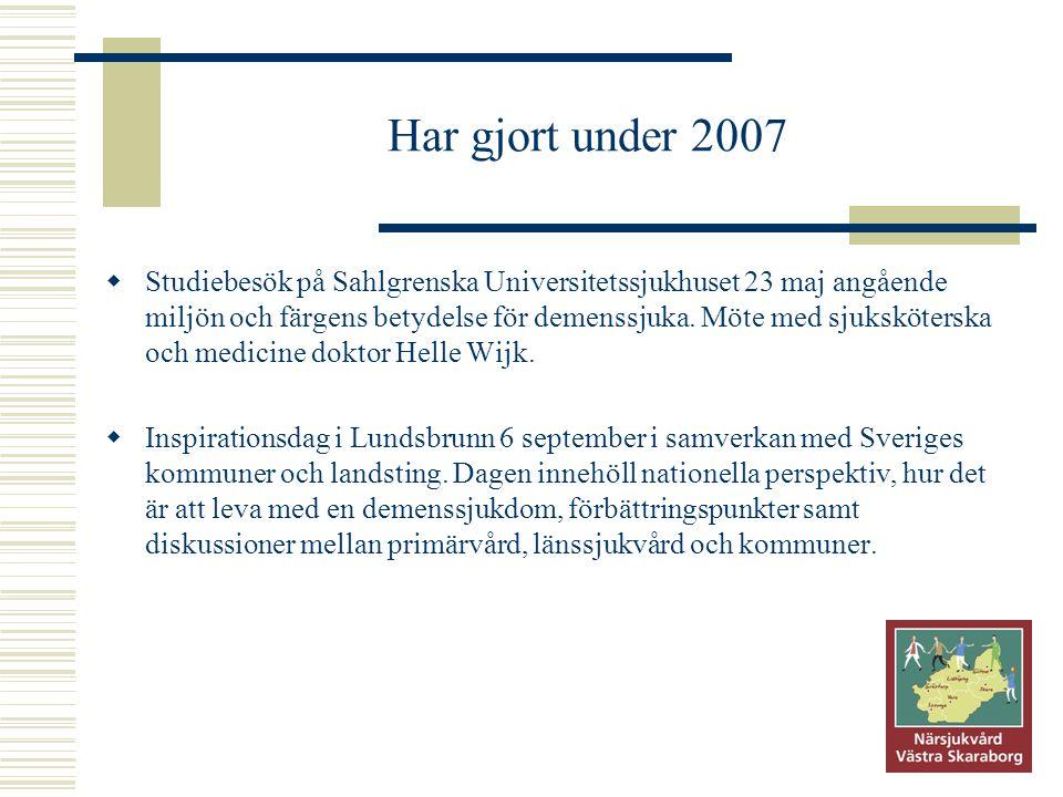 Har gjort under 2007  Studiebesök på Sahlgrenska Universitetssjukhuset 23 maj angående miljön och färgens betydelse för demenssjuka. Möte med sjukskö