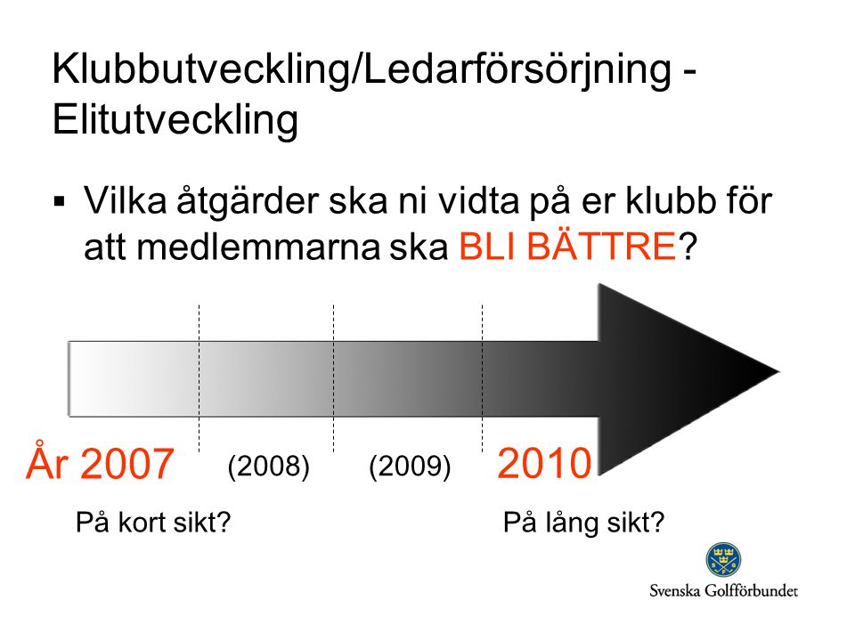 År 2007 (2008)(2009) 2010 På kort sikt På lång sikt.