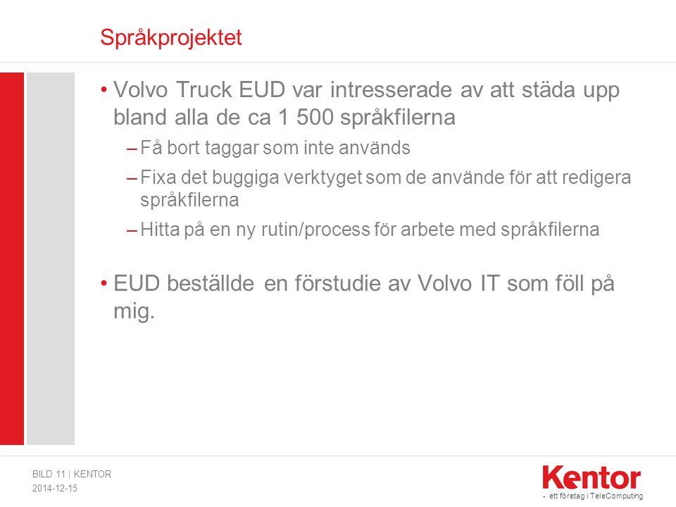 - ett företag i TeleComputing Språkprojektet Volvo Truck EUD var intresserade av att städa upp bland alla de ca 1 500 språkfilerna –Få bort taggar som inte används –Fixa det buggiga verktyget som de använde för att redigera språkfilerna –Hitta på en ny rutin/process för arbete med språkfilerna EUD beställde en förstudie av Volvo IT som föll på mig.