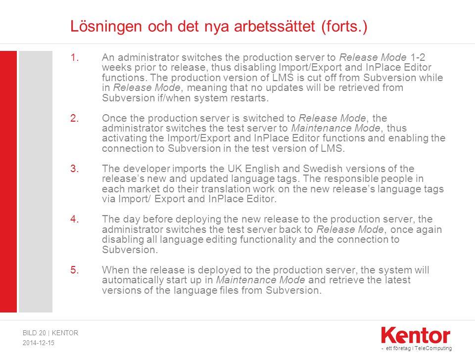 - ett företag i TeleComputing Lösningen och det nya arbetssättet (forts.) 1.An administrator switches the production server to Release Mode 1-2 weeks