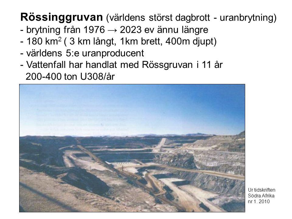 Rössinggruvan (världens störst dagbrott - uranbrytning) - brytning från 1976 → 2023 ev ännu längre - 180 km 2 ( 3 km långt, 1km brett, 400m djupt) - världens 5:e uranproducent - Vattenfall har handlat med Rössgruvan i 11 år 200-400 ton U308/år Ur tidskriften Södra Afrika nr 1.