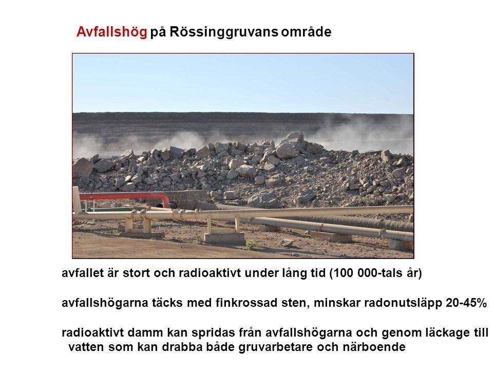 Avfallshög på Rössinggruvans område avfallet är stort och radioaktivt under lång tid (100 000-tals år) avfallshögarna täcks med finkrossad sten, minskar radonutsläpp 20-45% radioaktivt damm kan spridas från avfallshögarna och genom läckage till vatten som kan drabba både gruvarbetare och närboende