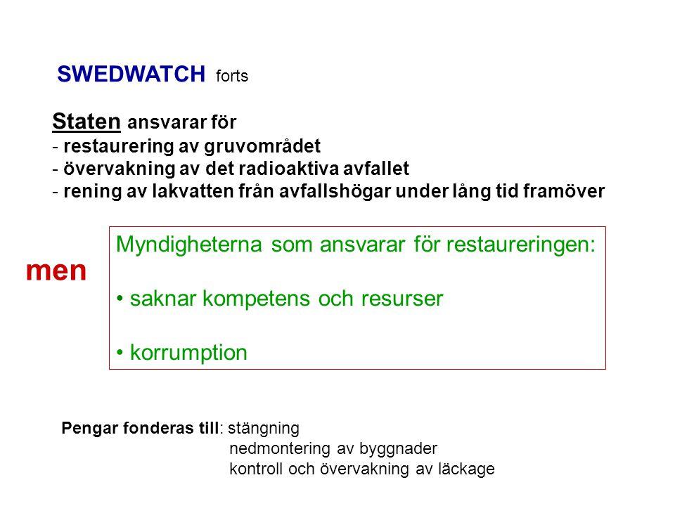 SWEDWATCH forts Staten ansvarar för - restaurering av gruvområdet - övervakning av det radioaktiva avfallet - rening av lakvatten från avfallshögar under lång tid framöver Myndigheterna som ansvarar för restaureringen: saknar kompetens och resurser korrumption Pengar fonderas till: stängning nedmontering av byggnader kontroll och övervakning av läckage men