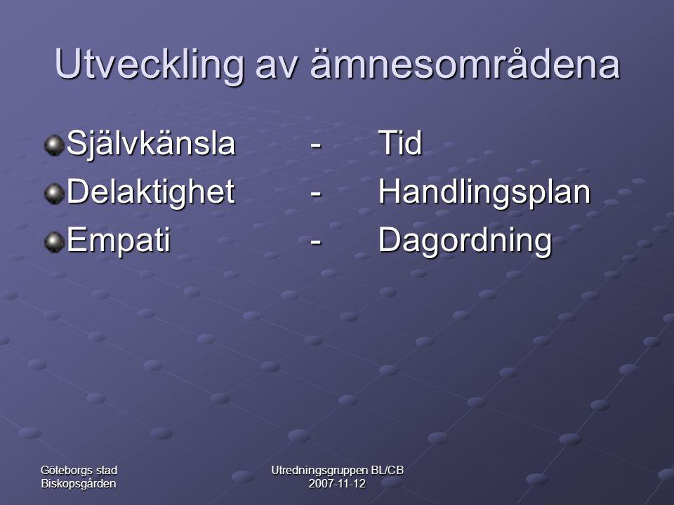Göteborgs stad Biskopsgården Utredningsgruppen BL/CB 2007-11-12 Utveckling av ämnesområdena Självkänsla-Tid Delaktighet-Handlingsplan Empati-Dagordning