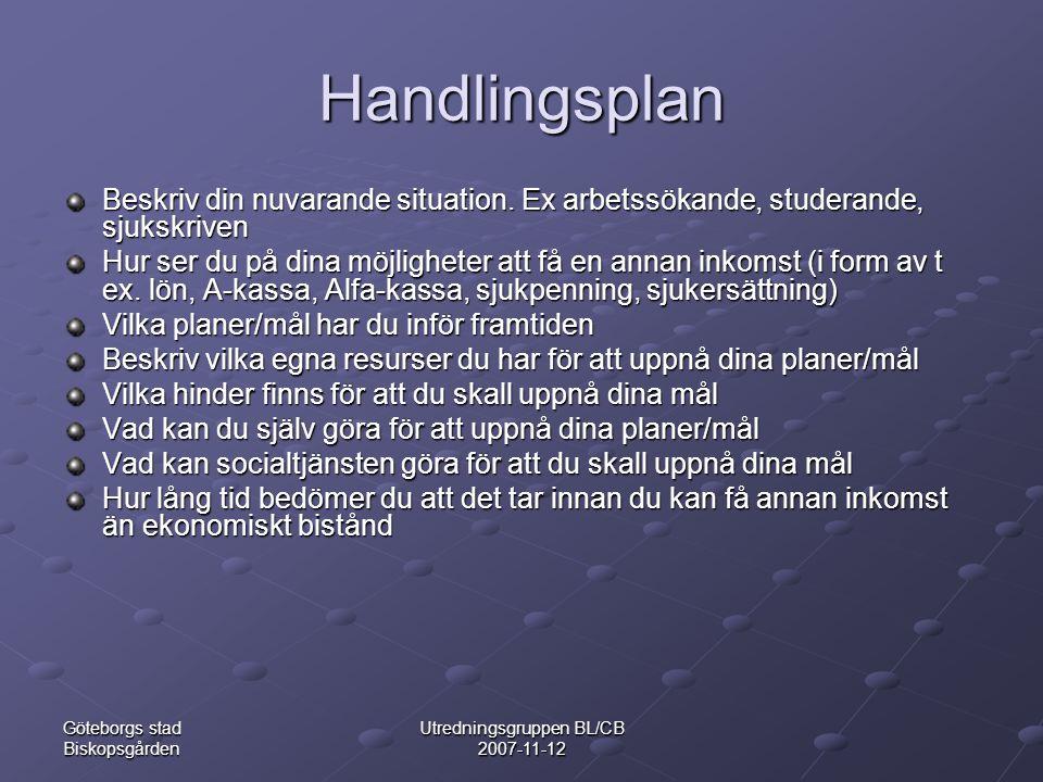 Göteborgs stad Biskopsgården Utredningsgruppen BL/CB 2007-11-12 Handlingsplan Beskriv din nuvarande situation.