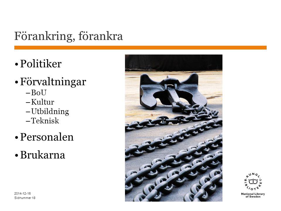 Sidnummer Förankring, förankra Politiker Förvaltningar –BoU –Kultur –Utbildning –Teknisk Personalen Brukarna 2014-12-15 18