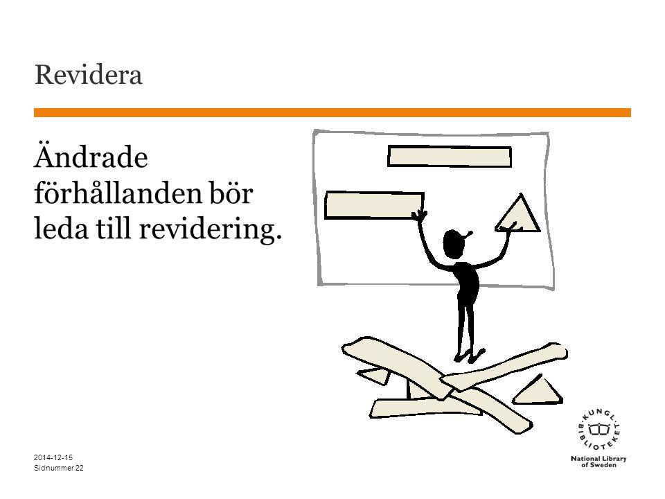 Sidnummer Revidera Ändrade förhållanden bör leda till revidering. 2014-12-15 22
