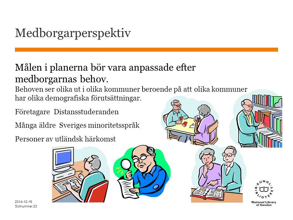 Sidnummer Medborgarperspektiv Målen i planerna bör vara anpassade efter medborgarnas behov.