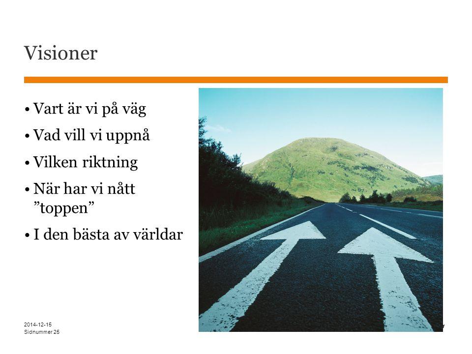Sidnummer Visioner 2014-12-15 25 Vart är vi på väg Vad vill vi uppnå Vilken riktning När har vi nått toppen I den bästa av världar