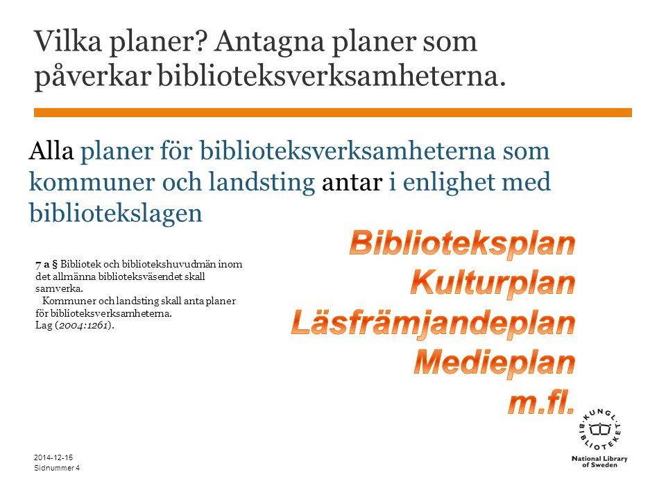 Sidnummer Vilka planer. Antagna planer som påverkar biblioteksverksamheterna.