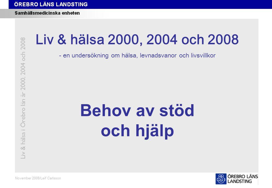 Kapitel 6 November 2008/Leif Carlsson Behov av stöd och hjälp Liv & hälsa i Örebro län år 2000, 2004 och 2008 Liv & hälsa 2008 Liv & hälsa 2000, 2004 och 2008 - en undersökning om hälsa, levnadsvanor och livsvillkor