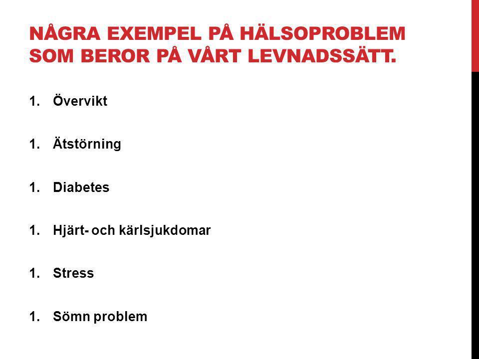 NÅGRA EXEMPEL PÅ HÄLSOPROBLEM SOM BEROR PÅ VÅRT LEVNADSSÄTT. 1.Övervikt 1.Ätstörning 1.Diabetes 1.Hjärt- och kärlsjukdomar 1.Stress 1.Sömn problem