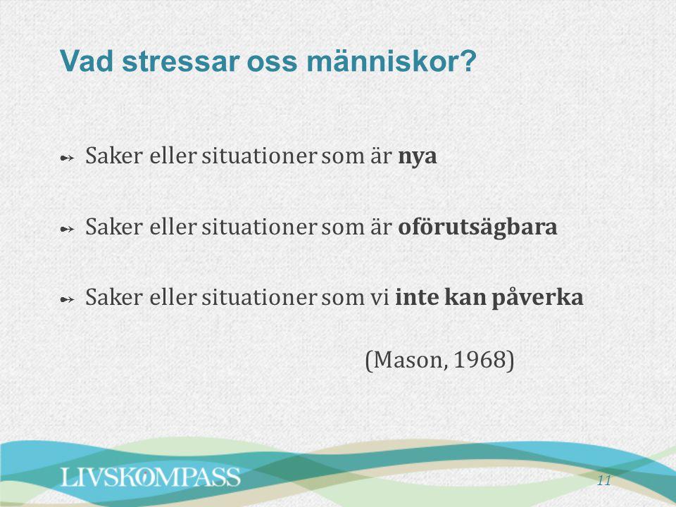 11 Vad stressar oss människor? ➻ Saker eller situationer som är nya ➻ Saker eller situationer som är oförutsägbara ➻ Saker eller situationer som vi in