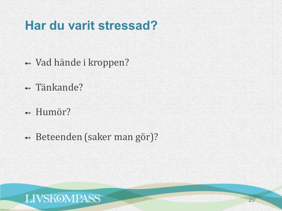 20 Har du varit stressad? ➻ Vad hände i kroppen? ➻ Tänkande? ➻ Humör? ➻ Beteenden (saker man gör)?