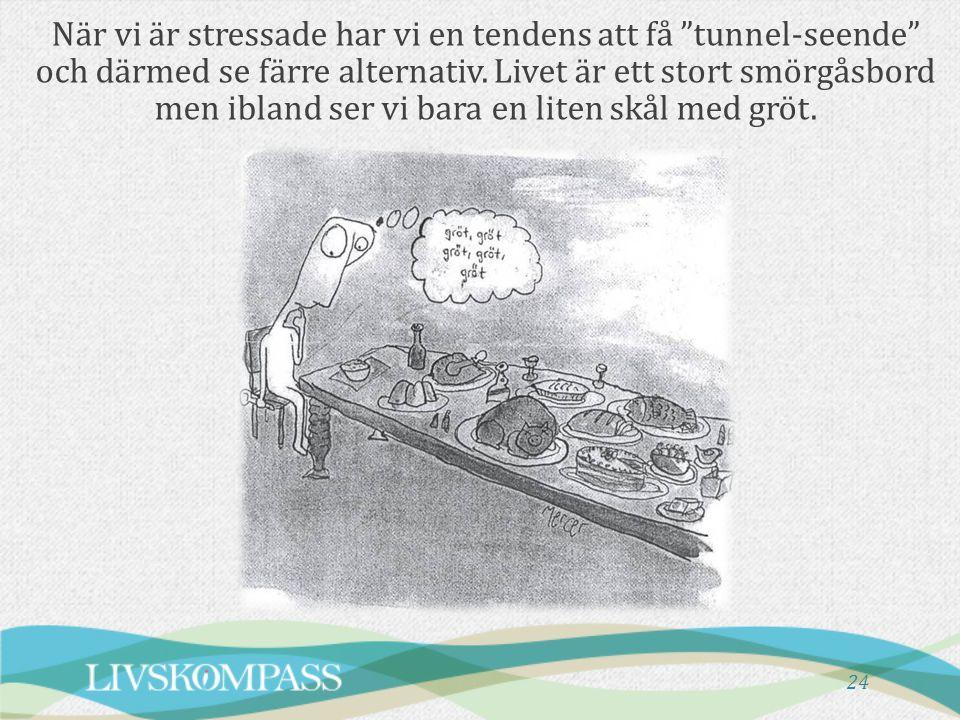 """24 När vi är stressade har vi en tendens att få """"tunnel-seende"""" och därmed se färre alternativ. Livet är ett stort smörgåsbord men ibland ser vi bara"""
