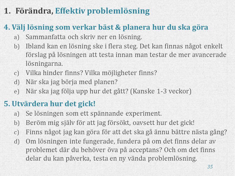 35 1.Förändra, Effektiv problemlösning 4. Välj lösning som verkar bäst & planera hur du ska göra a) Sammanfatta och skriv ner en lösning. b) Ibland ka