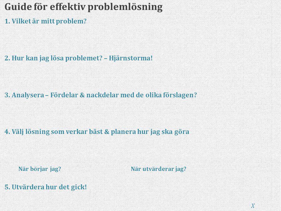 Guide för effektiv problemlösning 1. Vilket är mitt problem? 2. Hur kan jag lösa problemet? – Hjärnstorma! 3. Analysera – Fördelar & nackdelar med de