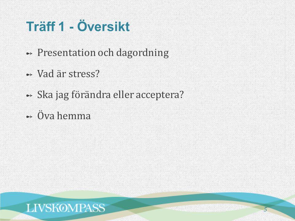 5 Träff 1 - Översikt ➻ ➻ Presentation och dagordning ➻ ➻ Vad är stress? ➻ ➻ Ska jag förändra eller acceptera? ➻ ➻ Öva hemma