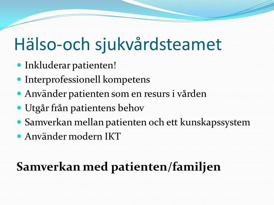 Hälso-och sjukvårdsteamet Inkluderar patienten! Interprofessionell kompetens Använder patienten som en resurs i vården Utgår från patientens behov Sam