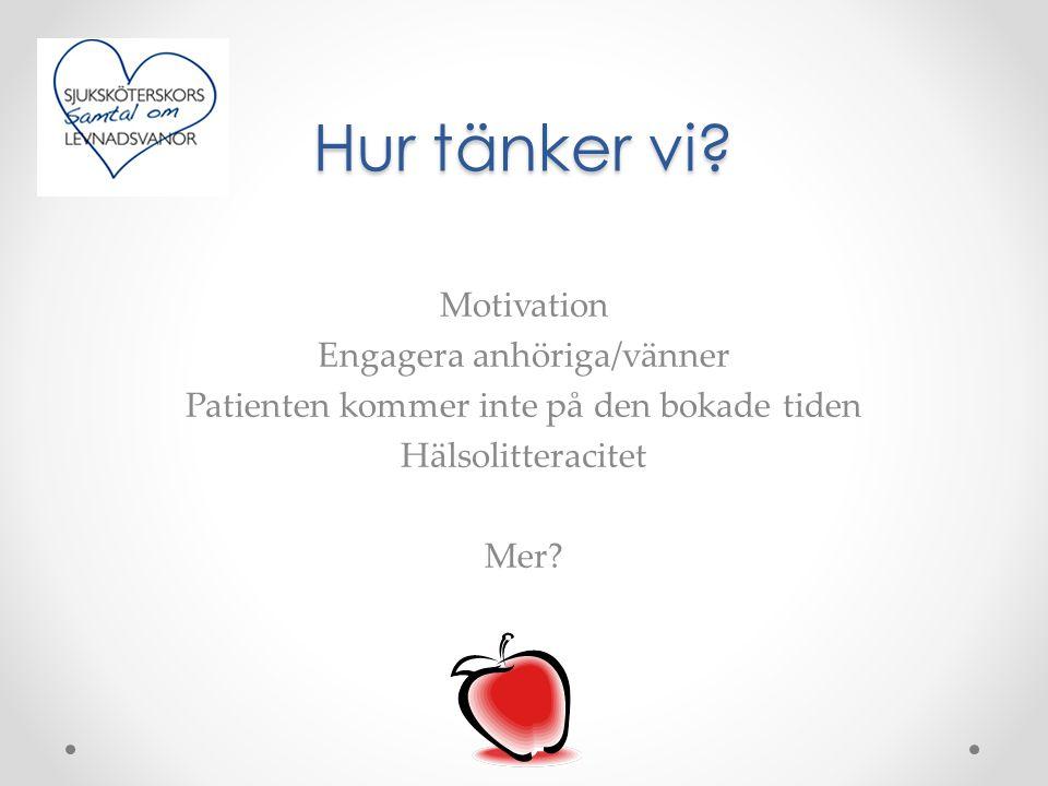 Hur tänker vi? Motivation Engagera anhöriga/vänner Patienten kommer inte på den bokade tiden Hälsolitteracitet Mer?