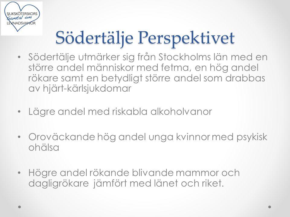 Södertälje Perspektivet Södertälje utmärker sig från Stockholms län med en större andel människor med fetma, en hög andel rökare samt en betydligt stö