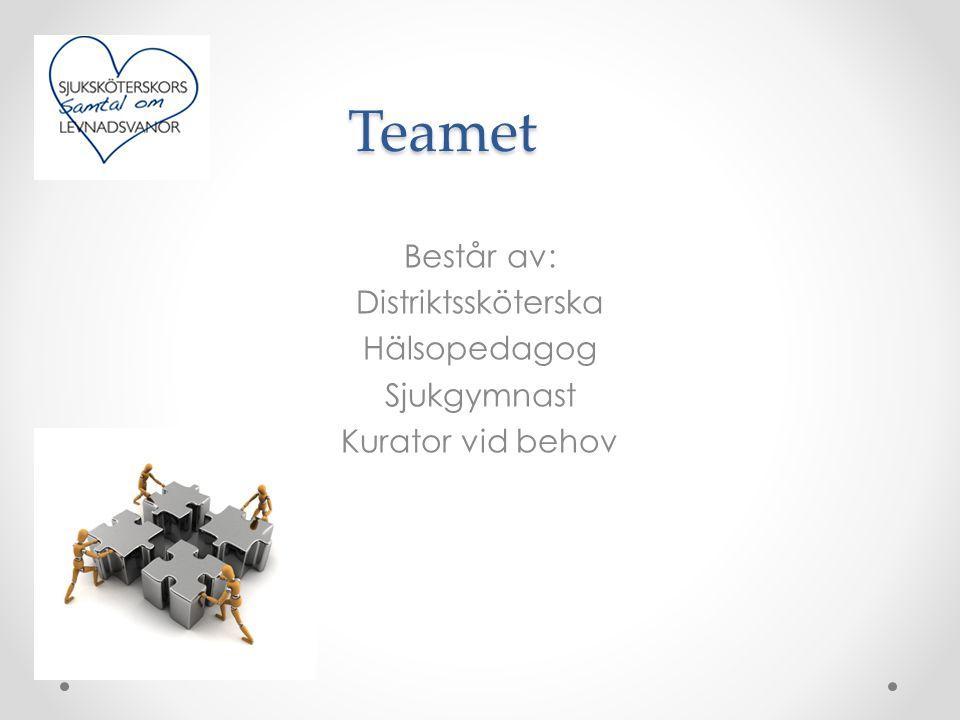 Teamet Består av: Distriktssköterska Hälsopedagog Sjukgymnast Kurator vid behov