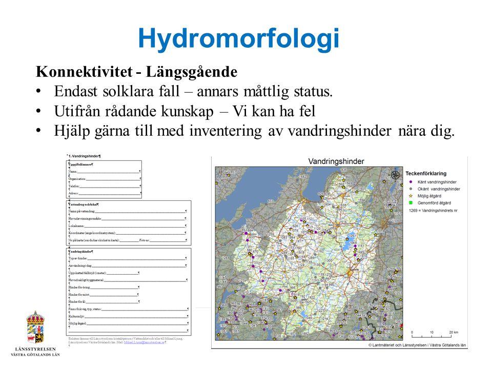 Hydromorfologi Konnektivitet - Längsgående Endast solklara fall – annars måttlig status.