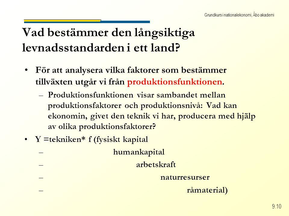 Grundkurs i nationalekonomi, Åbo akademi 9.10 För att analysera vilka faktorer som bestämmer tillväxten utgår vi från produktionsfunktionen. –Produkti