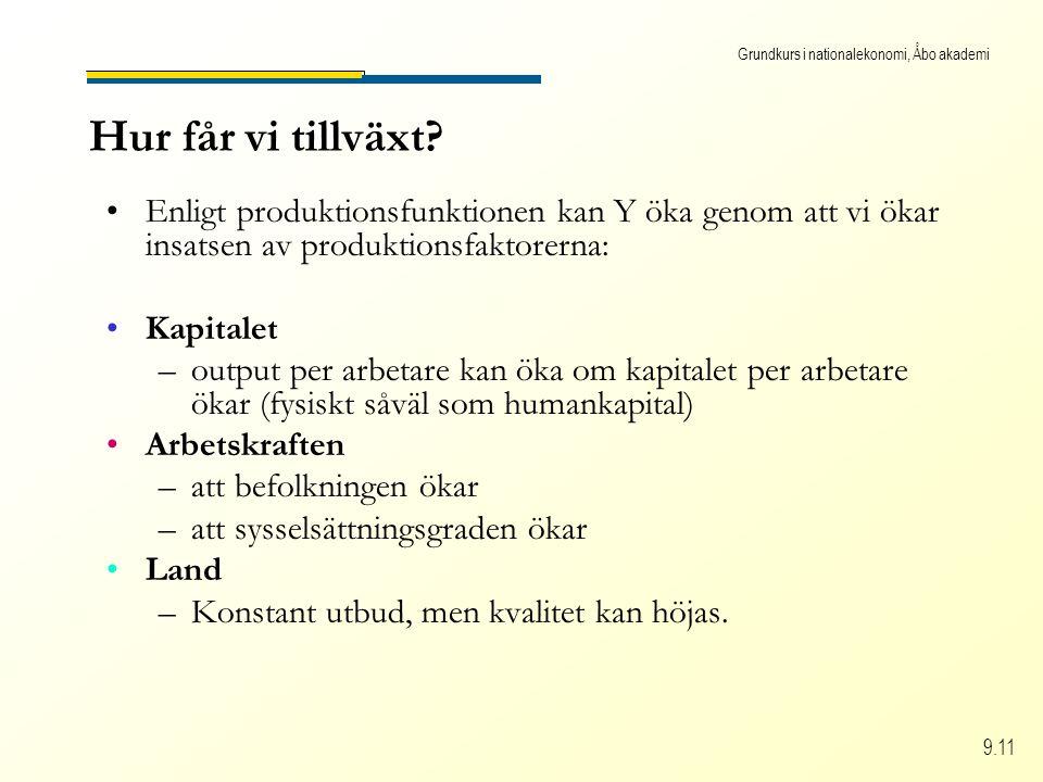 Grundkurs i nationalekonomi, Åbo akademi 9.11 Hur får vi tillväxt? Enligt produktionsfunktionen kan Y öka genom att vi ökar insatsen av produktionsfak