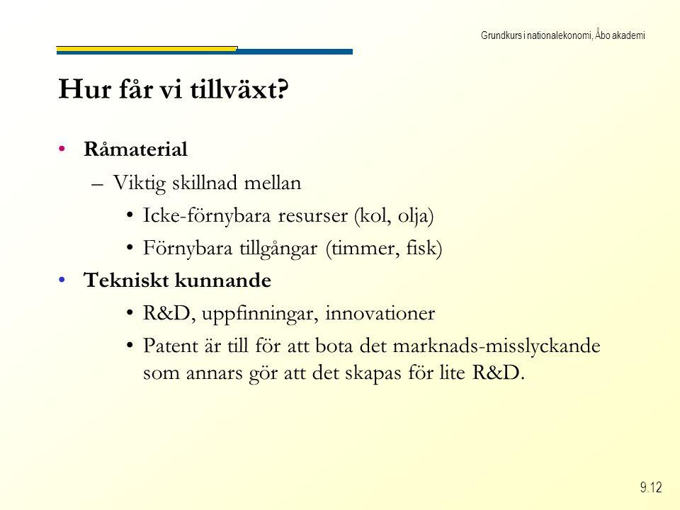 Grundkurs i nationalekonomi, Åbo akademi 9.12 Råmaterial –Viktig skillnad mellan Icke-förnybara resurser (kol, olja) Förnybara tillgångar (timmer, fis