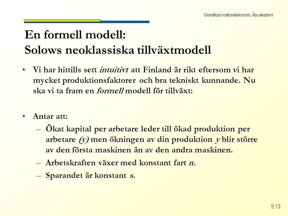 Grundkurs i nationalekonomi, Åbo akademi 9.13 En formell modell: Solows neoklassiska tillväxtmodell Vi har hittills sett intuitivt att Finland är rikt