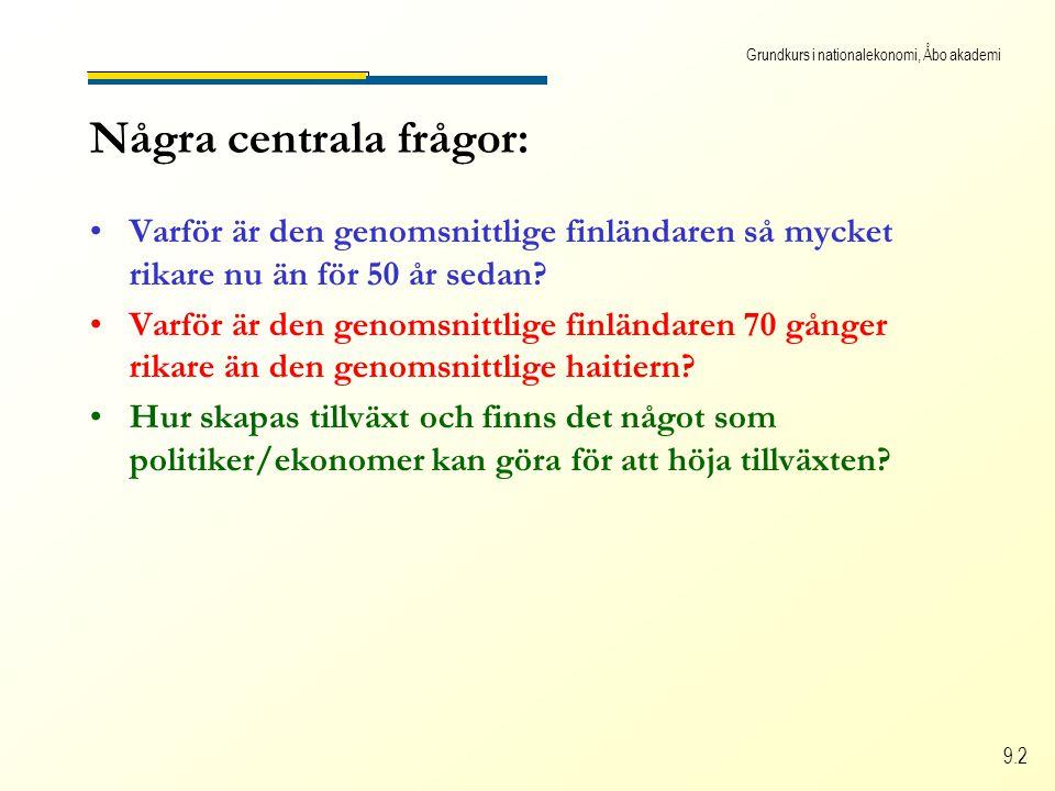 Grundkurs i nationalekonomi, Åbo akademi 9.2 Några centrala frågor: Varför är den genomsnittlige finländaren så mycket rikare nu än för 50 år sedan? V