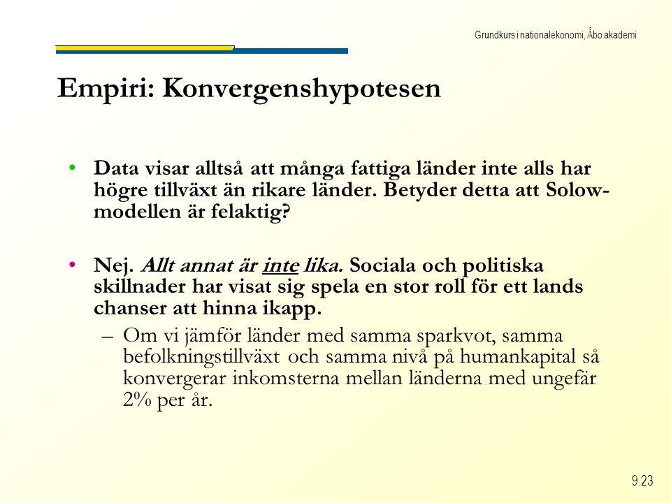 Grundkurs i nationalekonomi, Åbo akademi 9.23 Empiri: Konvergenshypotesen Data visar alltså att många fattiga länder inte alls har högre tillväxt än r