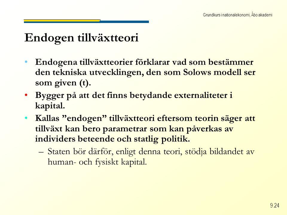 Grundkurs i nationalekonomi, Åbo akademi 9.24 Endogen tillväxtteori Endogena tillväxtteorier förklarar vad som bestämmer den tekniska utvecklingen, de