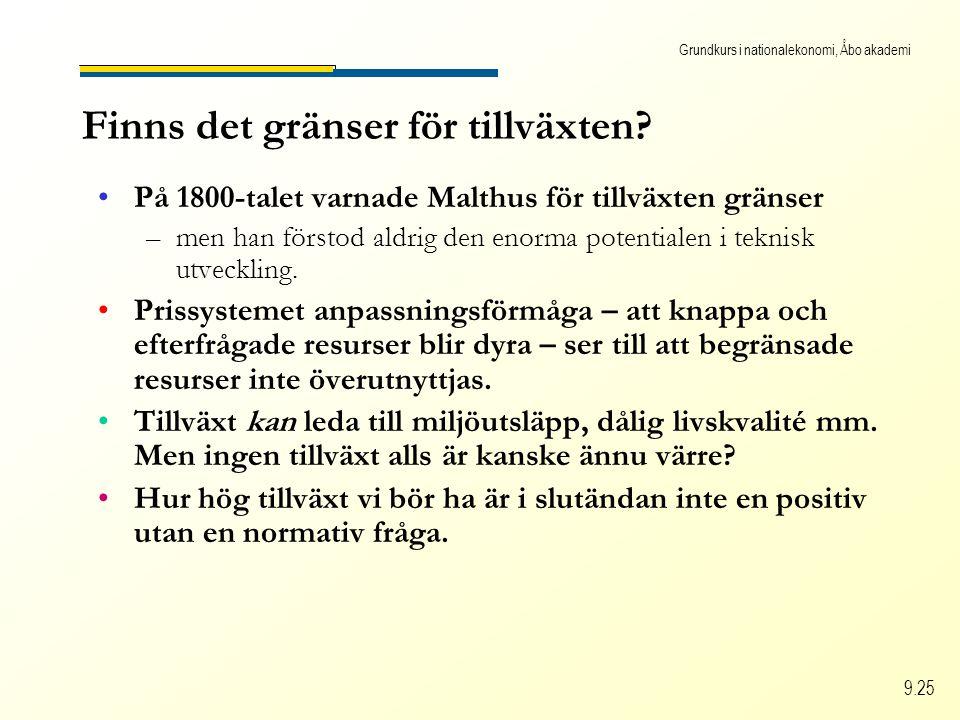 Grundkurs i nationalekonomi, Åbo akademi 9.25 Finns det gränser för tillväxten? På 1800-talet varnade Malthus för tillväxten gränser –men han förstod