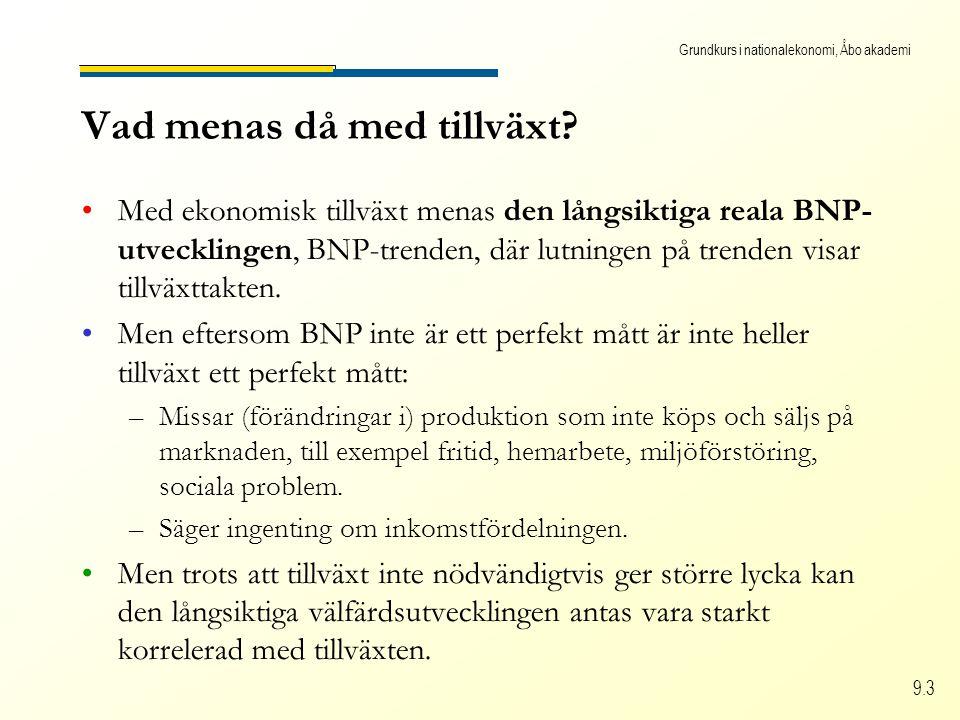 Grundkurs i nationalekonomi, Åbo akademi 9.3 Vad menas då med tillväxt? Med ekonomisk tillväxt menas den långsiktiga reala BNP- utvecklingen, BNP-tren
