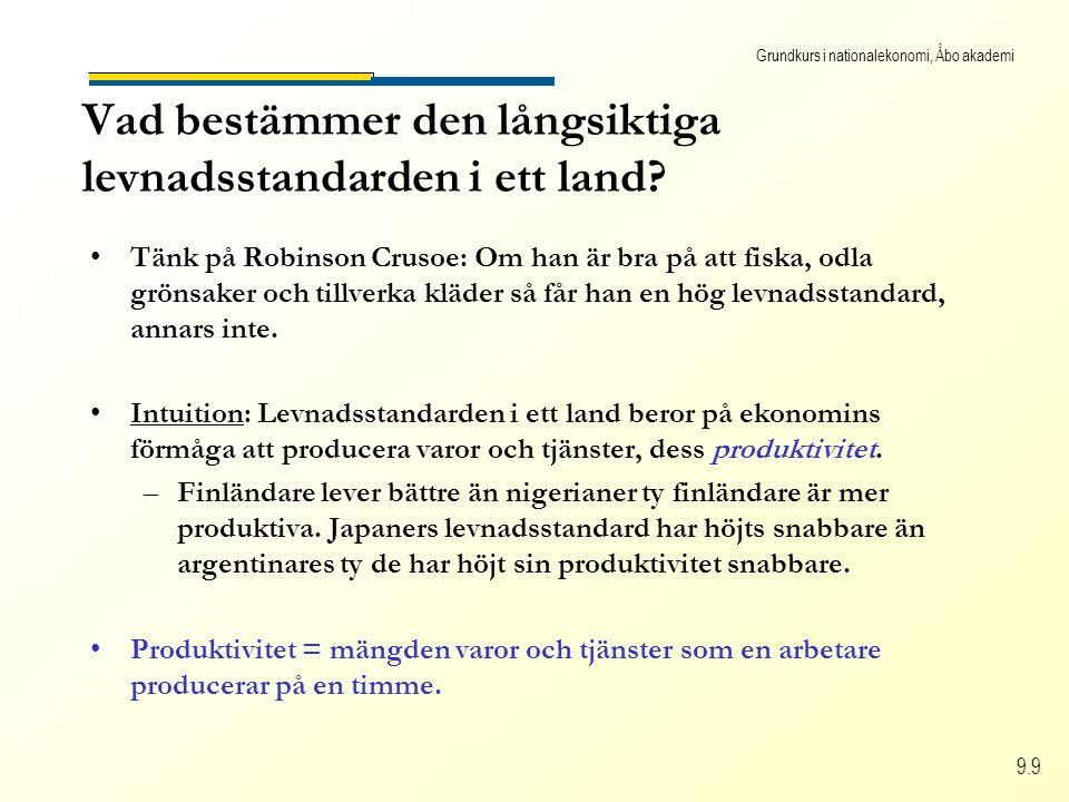 Grundkurs i nationalekonomi, Åbo akademi 9.9 Vad bestämmer den långsiktiga levnadsstandarden i ett land? Tänk på Robinson Crusoe: Om han är bra på att