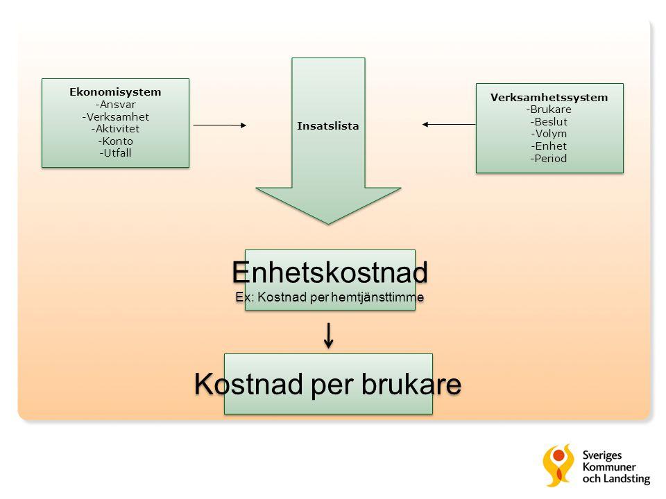 Enhetskostnad Ex: Kostnad per hemtjänsttimme Enhetskostnad Ex: Kostnad per hemtjänsttimme Insatslista Ekonomisystem -Ansvar -Verksamhet -Aktivitet -Ko